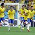 Brazil's Neymar celebrates with teammates after scoring. Photo / AP