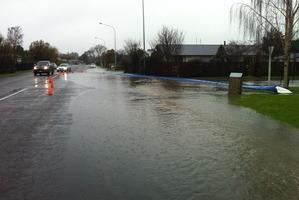 Flood protection measures on King St, Rangiora. Photo / Kurt Bayer, APNZ