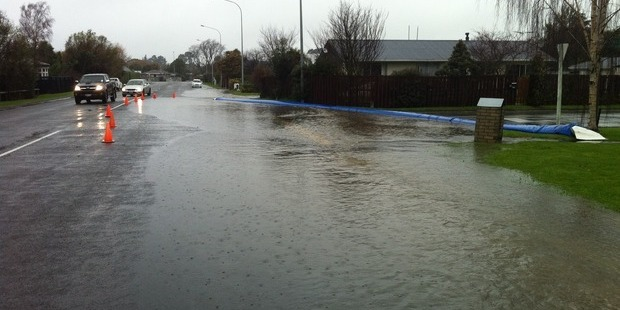 Flood protection measures on King St, Rangiora. Photo / Kurt Bayer, APNZ
