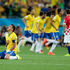 Brazil's Thiago Silva, left, celebrates after teammate Neymar scored during the group A World Cup soccer match between Brazil and Croatia. Photo / AP