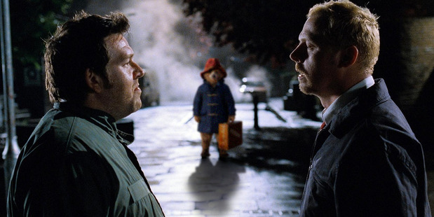 An image showing 'creepy Paddington' inserted into a movie scene.