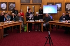 TPPA petition supporters jammed the council chamber yesterday but were left bewildered and upset. Photo/Stuart Munro