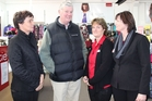 Kathy Massey, left, a shop assistant at the Dannevirke Postie store, Tararua District Mayor Roly Ellis, branch manager Melanie Ritchie and second-in-charge Robyn Butterfield. Photo / Christine McKay