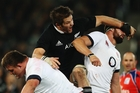 All Blacks skipper and open-side flanker Richie McCaw found his stride in the second half of the test against England at Forsyth Barr Stadium on Saturday. Photo / Getty Images