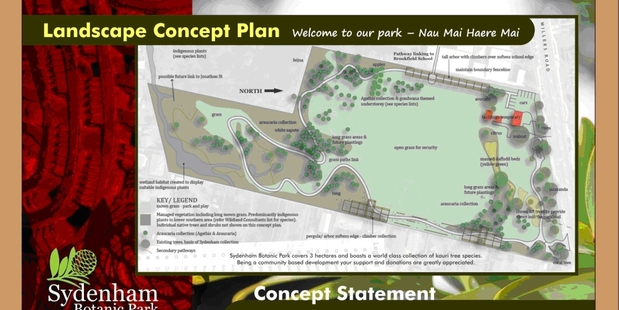 The concept plan for the Sydenham Botanic Park next to the Brookfield Primary School. Image/supplied