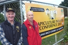 Neil Farrer (left) and Allan Richards are primed for the start of tomorrow's beekeeping conference. Photo/Laurel Stowell