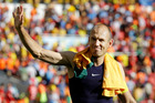 Netherlands' Arjen Robben waves to fans following the team's 3-2 win over Australia. Photo / AP