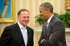 Barack Obama meets with John Key in the Oval Office of the White House in Washington. Photo / AP