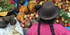 A Peruvian woman sells fresh exotic produce.