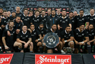 The All Blacks after winning the Steinlager Series against England. Photo / Getty Images