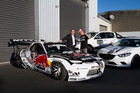 Drifting ace Mike Whiddett, with his RADBUL and Glenn Harris, says securing official backing from Mazda is 'truly mind-blowing'. Pictures / Brad Lord