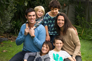 Tamati and Tessa Cameron with their children (clockwise, from back left) Victor, 3,  Israel, 5, Tawhai, 9,  and Evita, 7. Photo / Alan Gibson