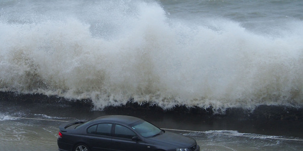 Flooding on Tamaki Drive. SUPPLIED Faye Hayman