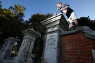 An $80,000 project to restore the historic gates outside the Tauranga Domain began on Monday. Photo / John Borren