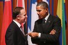 Barack Obama talks with John Key. Photo / AP