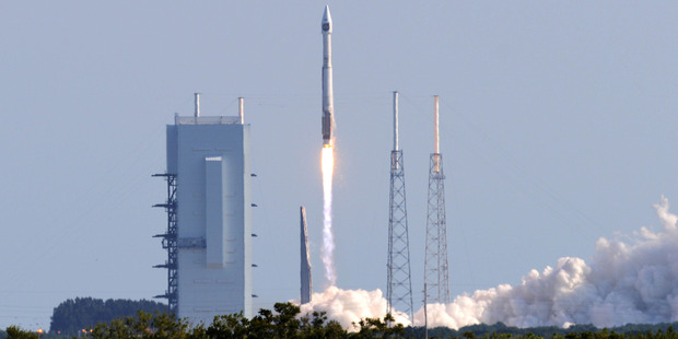 The United Launch Alliance Atlas V rocket lifts off last month. The company is pushing back to criticism by rival company SpaceX. Photo / AP