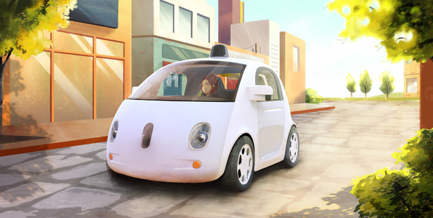 An artistic rendering of the company's self-driving car.