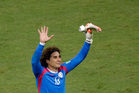 Mexico's goalkeeper Guillermo Ochoa waves to fans. Photo / AP