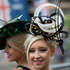 Sharon Teague, left and her daughter Ellie wear ornate hats as they pose for photographers on the third day of the Royal Ascot horse racing meeting. Photo / AP