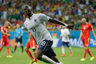 France's Moussa Sissoko celebrates after scoring his side's fifth goal during the group E World Cup soccer match between Switzerland and France. Photo / AP