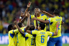 Ecuador's Enner Valencia, center, celebrates with teammates after scoring his team's second goal during the group E World Cup soccer match between Honduras and Ecuador. Photo / AP
