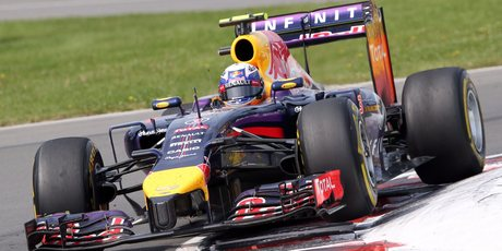 Red Bull driver Daniel Ricciardo, from Australia, drives through the last chicane on his way to winning the Canadian Grand Prix. Photo / AP