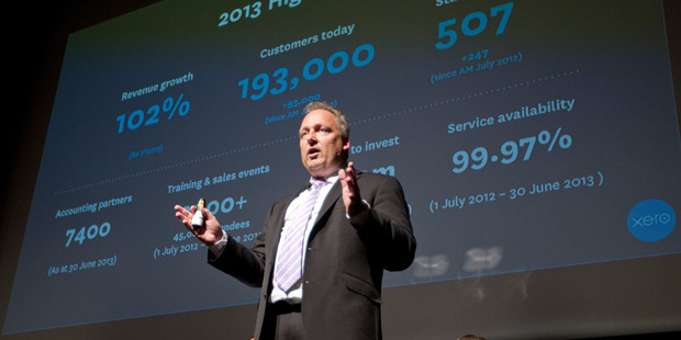 Xero chief executive and founder Rod Drury during a presentation. Photo / Mark Mitchell