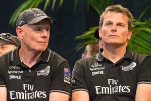 Team New Zealand Grant Dalton and skipper Dean Barker are greeted by thousands of fans at Shed 10 on Queens Wharf on Friday after returning unsuccessfully from the America's Cup in San Francisco.