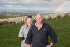 Trish and Craig  Sinclair and the flock of champion ewe hoggets at hill-country farm Kohurau, off remote Glenross Rd, west of Napier and Hastings. Photo/Paul Taylor