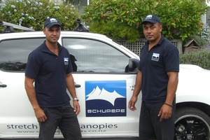Patrick Schuster (left) and Va Leaupepe (right), directors of Schupepe Tents.