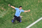 Luis Suarez scored twice for Uruguay. Photo / AP