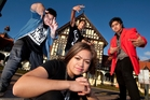 Breakthrew dance crew Brenz Whare, left, James Tango, Shanz Whare and Ariz Jacobs, front. Photo / Ben Fraser