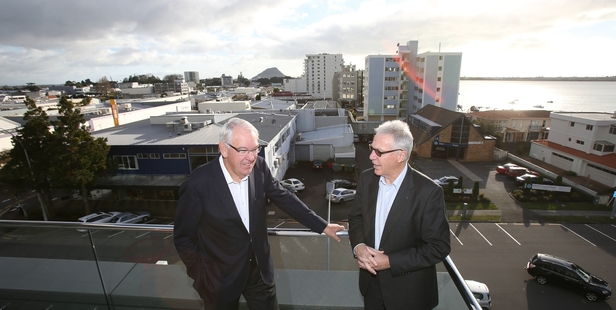 The creation of a single council covering the Western Bay is being pursued by Graeme Horsley (left) and John Gordon.Photo/John Borren