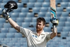 Neesham acknowledges his century in the first test against the Windies at Sabina Park in Jamaica. Photo / AP