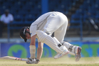 Kane Williamson falls on the ground during his second innings. Photo / AP