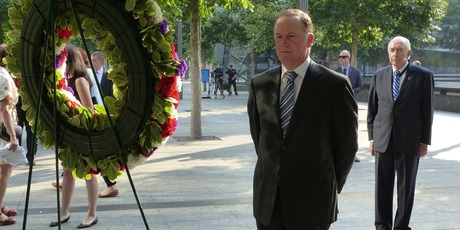 Prime Minister John Key with New Zealand's ambassador to the UN, Jim McLay at a wreath from New Zealand. Photo / NZ Herald