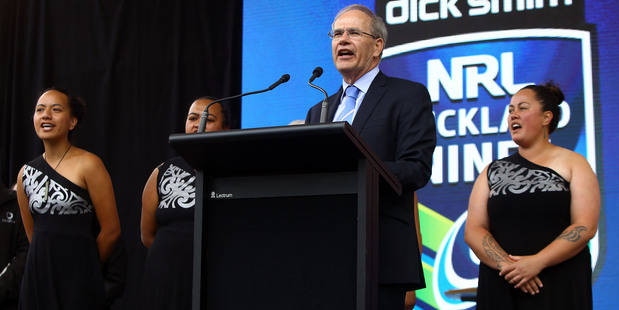 Mayor Len Brown at the official welcome ahead of the Dick Smith NRL Nines rugby league competition. Photo: William Booth/www.photosport.co.nz