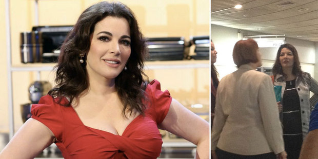 (Left) Immigration officials apologised to Nigella Lawson over her visa fiasco. (Right) Nigella on arrival at Auckland Airport. Photo / Supplied, NZ Herald
