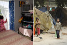 (Left) A 2-year-old looks out of the one bedroom rental she shares with her family in Mangere. Right, children in a Mumbai slum. Photo / APN, Getty Images