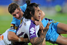 Mahe Fonua of the Storm reacts after a tackle. Photo / Getty Images