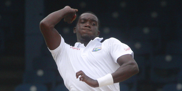 Jerome Taylor bowls during the opening day of the second cricket Test match against New Zealand. Photo / AP