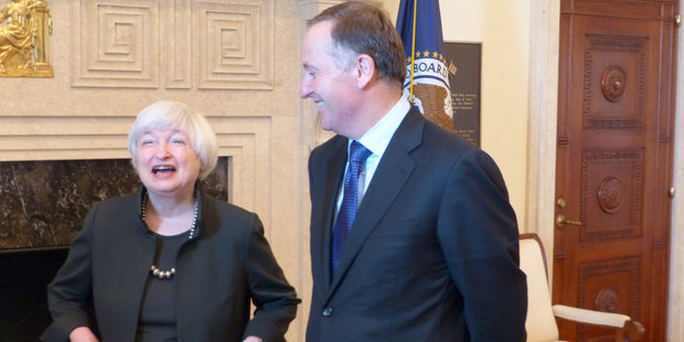 Federal Reserve chair Janet Yellen with Prime Minister John Key earlier today.  Photo / Audrey Young