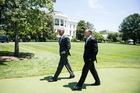 Obama and Key's 'relaxed and friendly' meeting included a stroll around the White House. Photo / AP