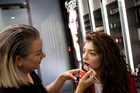 Amber D, M.A.C Senior Artist, and Lorde in the M.A.C store in Britomart. Picture / Rene Vaile