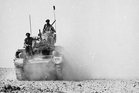 A New Zealand tank in action at El Alamein. Photo / Alexander Turnbull Library