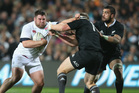 Kieran Brookes of England is tackled during the International Test match between the All Blacks and England at Waikato Stadium in Hamilton. Photo / Getty Images