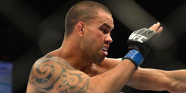 Kiwi James Te Huna lost in the first round at the maiden UFC event in New Zealand. Photo / Getty