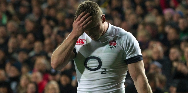 Being beaten again proves hard to fathom for England wing Chris Ashton. Photo / Alan Gibson