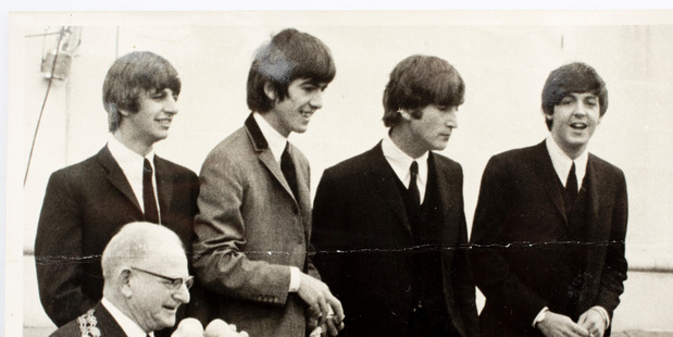 The Beatles at the Auckland civic reception with Mayor Robbie (John Baker collection).