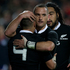 All Blacks Aaron Smith is congratulated by Aaron Cruden after scoring against England. Photo / New Zealand Herald / Brett Phibbs